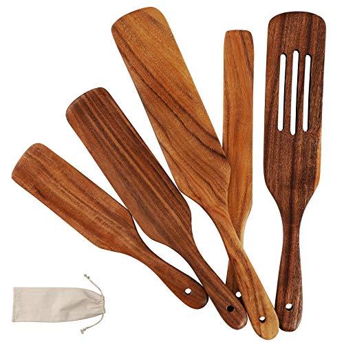 Zakicol Kochutensilien, 5-teiliges Teak-Küchenhelfer-Set, hitzebeständig, antihaftbeschichtet, Holz-Kochgeschirr mit Aufhängeloch, geschlitzte Spurtle-Spachtel-Sets zum Rühren, Mixen, Servieren