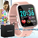 Amokeoo Smart Watch,Fitness Watch Activity Tracker with Heart Rate Blood Pressure Monitor IP67 Waterproof Bluetooth Smartwatch Touch Screen Sports Watch for Android iOS Phones Men Women New Pink