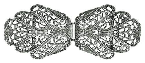 Dirndlschürzenschließe mit filigranen Ornamenten Oval - Silber - Trachtenschließe Schnalle Dirndlschürzenverschluss Schürzenklammer