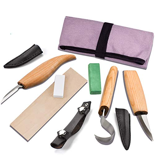 WAYCOM Wood Carving Tools Set,Whittling Wood Carving Kit for Spoon Carving 3 Knives in Tools Roll Leather Strop and Polishing Compound Sharpening Stone Hook Sloyd Detail Knife