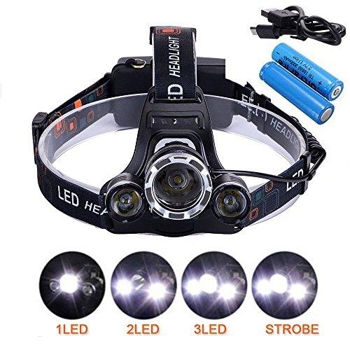 YUMUN LED Stirnlampe, USB Wiederaufladbare Superhelle LED Stirnlampe LED Kopflampe LED Kopfleuchten 4 Helligkeiten zu Wählen +2 x 18650 Akku Für Outdoor/Sports/Camping/Biking/Jagd/Fischerei