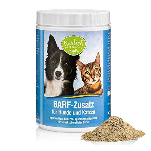 tierlieb Sanct Bernhard BARF Zusatz für Hunde+Katzen, mit natürlichen Mineralstoffen, lebenswichtigen Vitaminen, Spurenelementen, Inhalt 800 g Granulat