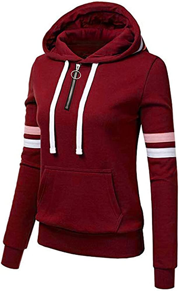 5665 Womens Hodded Pullover Hoodies Solid Color Cinched Pullovers Sweatshirt Retro Drawstring Striped Activewear with Pocket