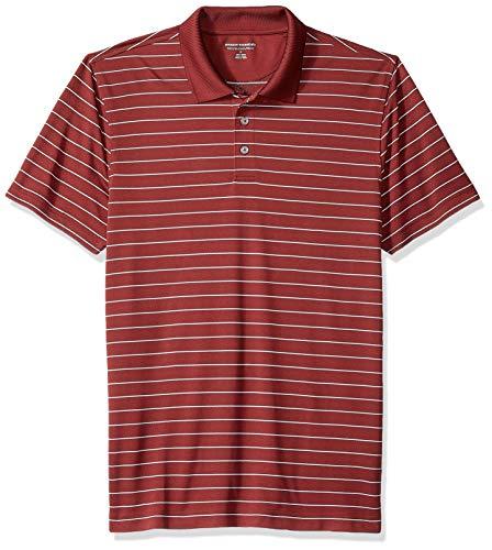 Amazon Essentials Men's Slim-Fit Quick-Dry Golf Polo Shirt, Port Stripe, Large