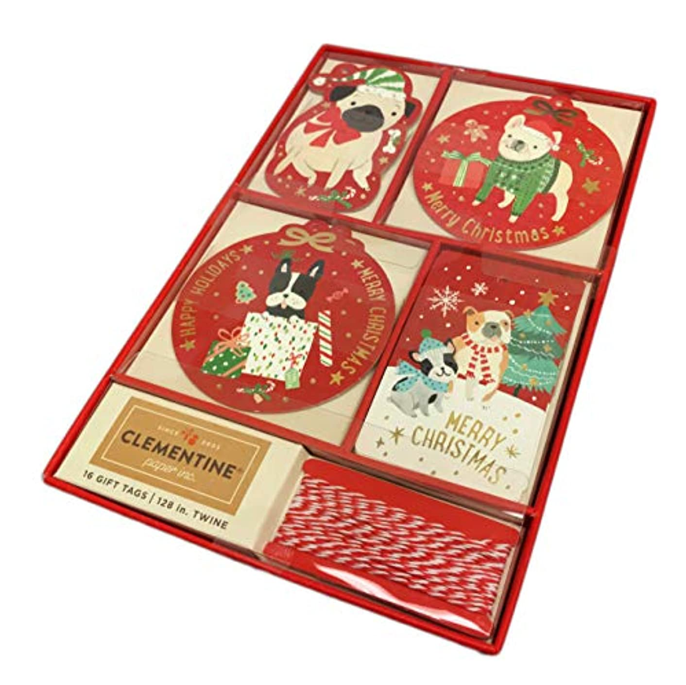 Merry Christmas Happy Holidays Festive Multi Dog Breeds 16 Christmas Holiday Gift Tags & Twine