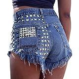 minetom shorts donna jeans alta vita casual denim pantaloncini jeans con frange a blu x-small