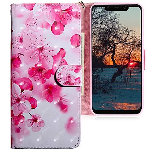 CLM-Tech Hülle kompatibel mit Xiaomi Pocophone F1 - Tasche aus Kunstleder - Klapphülle mit Ständer & Kartenfächern, Blume rosa pink