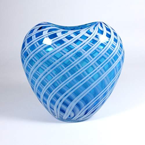 CRISTALICA Glasvase Blumenvase Dekovase Herzvase Lily Murano 18cm blau