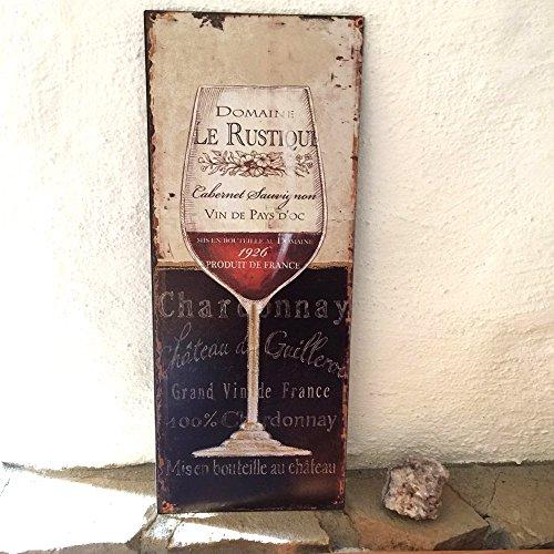 Antikas - Blechschild mit Weinglas - Gastronomie Dekoration Weinlokal Cafehaus Bilder Wein