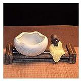 LUAN cenicero Ceniceros de cerámica Base de Madera Cenicero de Mesa Redondo Cigarrillo de Tabaco Cigarros Bandeja de Ceniza al Aire Libre Decoración de la Oficina en el hogar Ceniceros portátiles