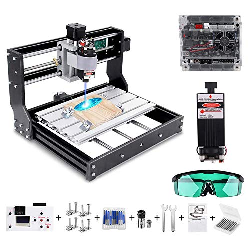 Vogvigo 2 en 1 CNC 3018 Pro Fresadora con Láser de 10000 mW Control GRBL Mini Máquina CNC, kit de Enrutador de Madera de PVC Acrílico PCB de 3 Ejes con Controlador Fuera de Línea, Area 300x180x45 mm