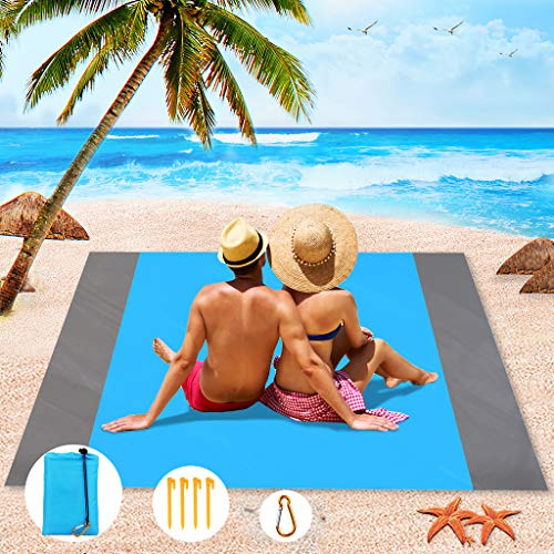 Aitbay Sand Free Beach Blanket, Waterproof Blanket Mat - Quick Drying Compact Sand Proof Outdoor Picnic Beach Mat for Travel, Hiking, Camping, Music Festival with Storage Bag + 4 Stakes (82