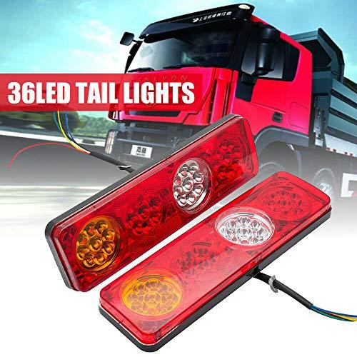 Riloer Luces traseras, 2x 36 LED 12V Luces Traseras Ute Remolque Caravana Camión Barco Indicador de Marcha Atrás Material ABS