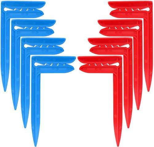 com-four® 8X Clips para Toallas de Playa - Clips para Toallas para Sujetar en Condiciones de Viento Ideal para la Playa, Viajes, campamentos o Picnic (08 Piezas - Arenque. Rojo + Azul) ✅