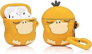 LEWOTE Airpodsケース エアポッド カバー 保護ケース 耐衝撃 紛失防止 AirPods第2世代と第1世代に適用防塵 漫画 リングロープ 滑り止め キーチェーン 可愛い 萌え萌え 人気 (Psyduck)(1パック)