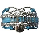 Softball Charm Bracelet - Infinity Love Adjustable Charm Bracelet with Softball Charm for Softball Players