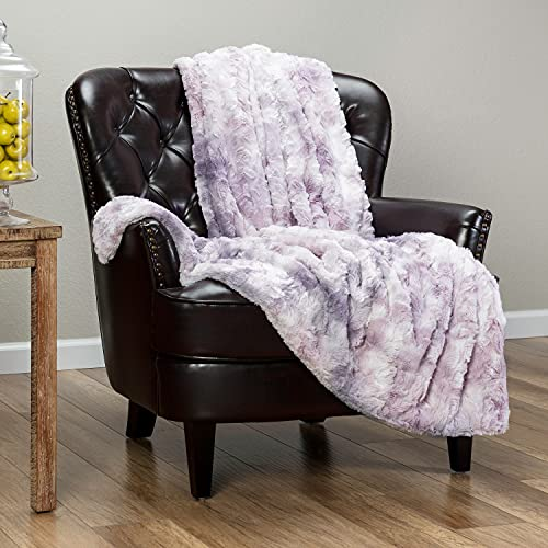 Chanasya Super Soft Fuzzy Faux Fur Throw Blankets - Fluffy Plush Lightweight Cozy Snuggly with Sherpa for Couch Sofa Living Room Bedroom - Purple Fall & Winter Home Decor (50x65 Inches) Lilac Blanket