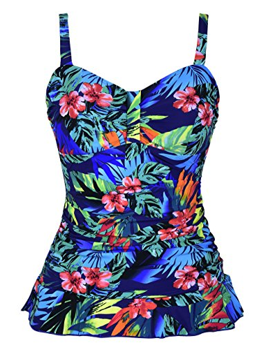 Hilor Women's 50's Retro Ruched Tankini Swimsuit Top with Ruffle Hem Blue&Red Floral 20