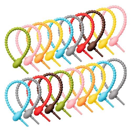 LYNN Wiederverwendbare farbige multifunktionale Silikon-Krawatte, Lebensmittelbeutel, Aufbewahrungsgürtel