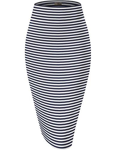 Hybrid & Company Womens Pencil Skirt for Office Wear KSK43584 2894 Navy M
