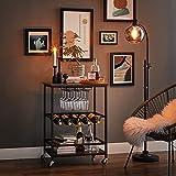 VASAGLE Servierwagen, Küchenwagen auf Rollen, mit Ablagen, Glas- und Flaschenhaltern, 60 x 40 x 75 cm, Industrie-Design, vintagebraun-schwarz LRC087B01 - 3