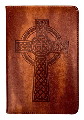 Celtic Cross Writing Journal by SohoSpark, Refillable Faux Leather, Lined Personal Diary for Travel, 6x8.75 Notebook for Writers. Fountain Pen Safe with Lay-Flat Binding.
