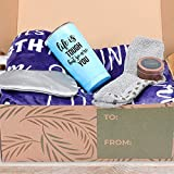 KEDRIAN 5-Piece Care Package Box, Warm & Relaxing Sympathy Blanket, Socks, Tumbler, Mask