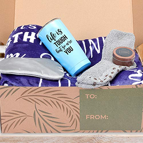 KEDRIAN 5-Piece Care Package Box, Warm & Relaxing Sympathy Blanket, Socks, Tumbler, Mask, Candle, Perfect Get Well Gifts for Women & Men, Sympathy Gift Baskets, Get Well Care Package for Women & Men