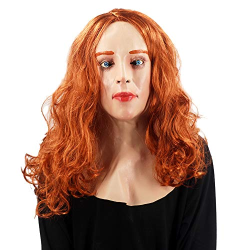 Realistic Scarlet Female Woman Face Halloween Latex Mask With Wig Lady Crossdressing Sissy Transgender Costume