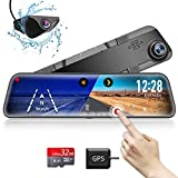 VVCAR 12' Mirror Dash Cam 1296P Backup Camera with GPS Touch Screen Front and Rear View Dual Lens Full HD WDR Night Vision, G-Sensor (Free 32GB SD Card) for Cars/Trucks