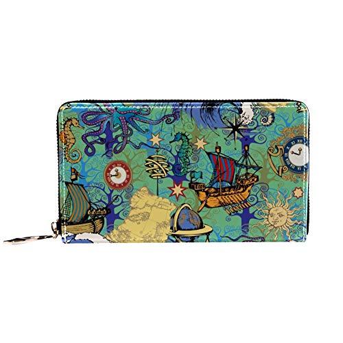 XCNGG Leder Geldbörse Cartoon Ocean Boot und Sun Wallets Kartenhalter Clutch mit vielen Taschen für Frauen Männer Mädchen Jungen Jungen Small Compact Wallet Bifold