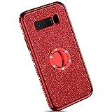 Ysimee kompatibel mit Samsung Galaxy Note 8 Hülle, Bling Schutzhülle Glänzend Weiche TPU Silikon HandyHülle Bumper Case mit Ring 360 Grad Ständer, Diamant Glitzer Case, rot -