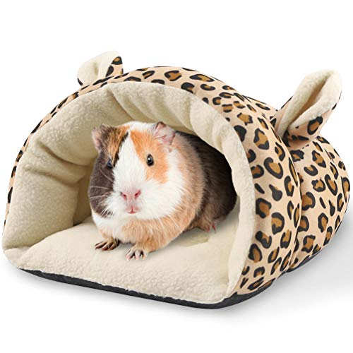 PAWCHIE Guinea Pig Bed - Warm Cave Beds for Small Animals, Super Soft Fleece Cage Accessories, Guinea Pig Cuddle Sack with Leopard Pattern, Ideal for Guinea Pigs, Ferrets, Chinchillas, Hedgehog House