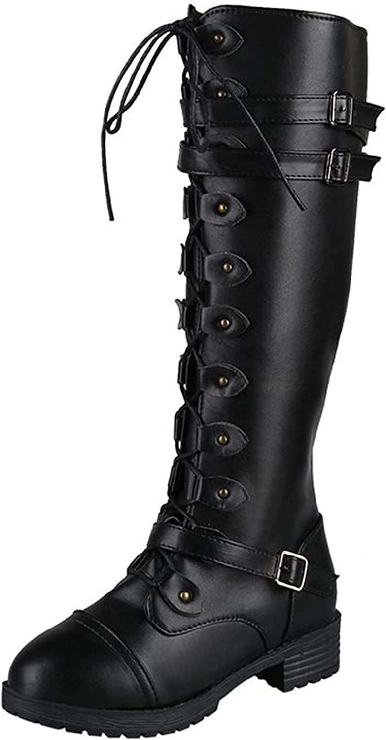 USYFAKGH Women's Ladies Lace Up Squared Toe Buckle Decor Zipper Thigh Boots Shoes