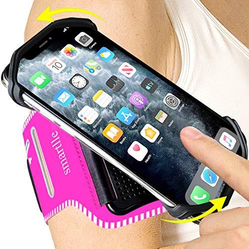 Smartlle Brazalete deportivo giratorio 360° para iPhone 12 Pro, 12 Mini/Xs Max/XR/X/6S/7/8 Plus, Galaxy S20/S10/S9 Plus/S8/Note 9/8/J7, LG G6/V30, Google Pixel 3/2 XL, extraíble