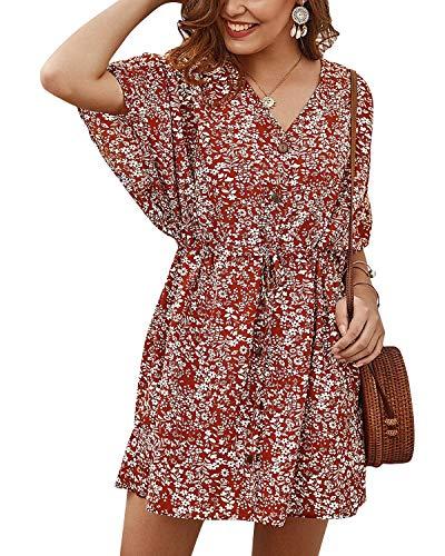 SOLERSUN Shift Dresses, Women s Summer Casual V Neck Floral Short Sleeve Drawstring Loose Mini Sundress Floral Red S