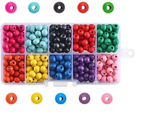 FOGAWA 380-400Pcs Cuentas de Madera Colores Bolas de Madera Manualidades Kit de Abalorios Madera para Pulseras Perlas de Madera para Collares Joyas 8 x 6mm 10 Colores con Caja y Cuerdas
