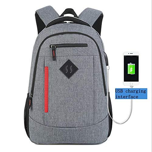 JJFJ Reise-Laptop-Rucksack Mit USB-Schnittstelle Für Männer Und Frauen, Wasserdichter Kurzschluss-Reiserucksack, 15,6-Zoll-Laptop,Grau