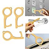 3 PCS No Touch Hand Tool - EDC Contactless Door Opener Closer Multi Keychain Tool - Portable Key...