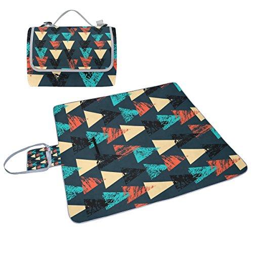 COOSUN handbemalt Bold Muster mit Dreiecke Picknick Decke Tote Handlich Matte Mehltau resistent und wasserfest Camping Matte für Picknicks, Strände, Wandern, Reisen, Rving und Ausflüge