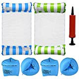 Sinceroduct 4PCS Inflatable Pool Float, 4-in-1 Multi-Purpose Water Hammock with Manual Air Pump and Arm Airbags, Beach Chair, Water Lounge, Water Drifter for Adults
