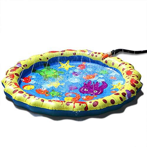 ODOLAND 噴水マット 水遊び 色選択可 サイズ選択可 取付便利 (イエロー, 1M)