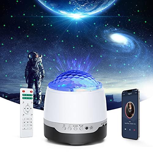 Proyector de Luz Estrella, Tasmor Lámpara Noctuna Infantil RGBW Regulable, Proyector Galaxy Rotación de 360°y Temporizador, Proyector Luz Estelar Sincorización con Música para Fiesta, Decoración