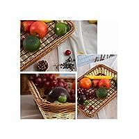 シンプルな織りストレージバスケットHand手仕事食品フルーツオーガナイザーパンバスケット、ホワイト、M
