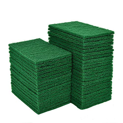 YoleShy 40 PCS Scouring Pad, Dish Scrubber Scouring Pads,4.5 x 6 inch Green Reusable Household Scrub Pads for Dishes, Kitchen Scrubbers & Metal Grills