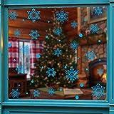 Weihnachten Aufkleber Fenster,Blaue Weihnachten Schneeflocke Elektrostatische...