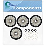 4 Pieces 349241T Dryer Drum Roller Replacement for Whirlpool WED7300DW0 Dryer - Compatible with 3397590 Rear Drum Support Roller - UpStart Components Brand