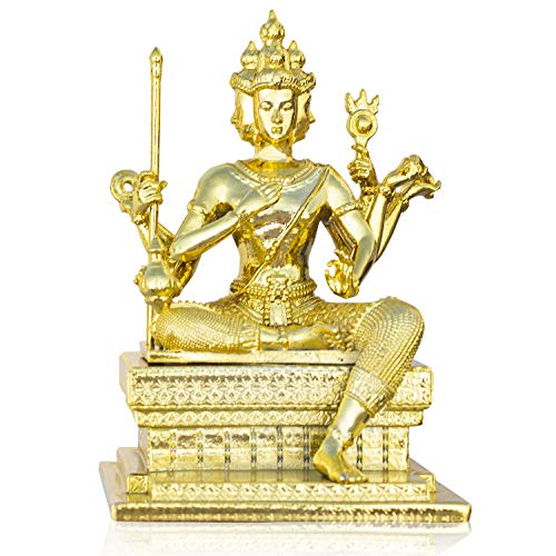"Golden Alloy Thai Sitting Brahma 4""Tall Indoor Erawan Shrine Phra Phrom Statue Religious Four-Faced God for Prayers Four-Faced Buddha for Home Decor Accents Living Room Bedroom Office Book Shelf Decor"
