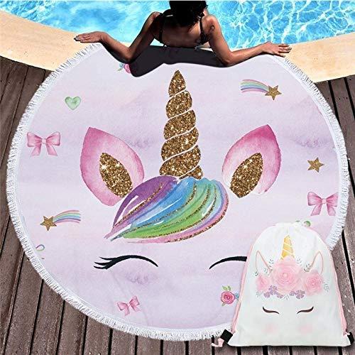 LIFUQING Toalla De Playa Redonda Bulldog Toalla De Playa con Estampado De Perro Servilletadeplage Toalla Grande De Dibujos Animados Microfibra Baño Infantil Toalla150X150Cm