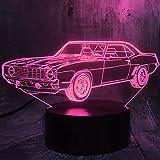 Jinson well Lámpara 3D para coche, ilusión óptica, luz nocturna, 7 cambios de color, interruptor táctil, lámpara decorativa con USB, juguete